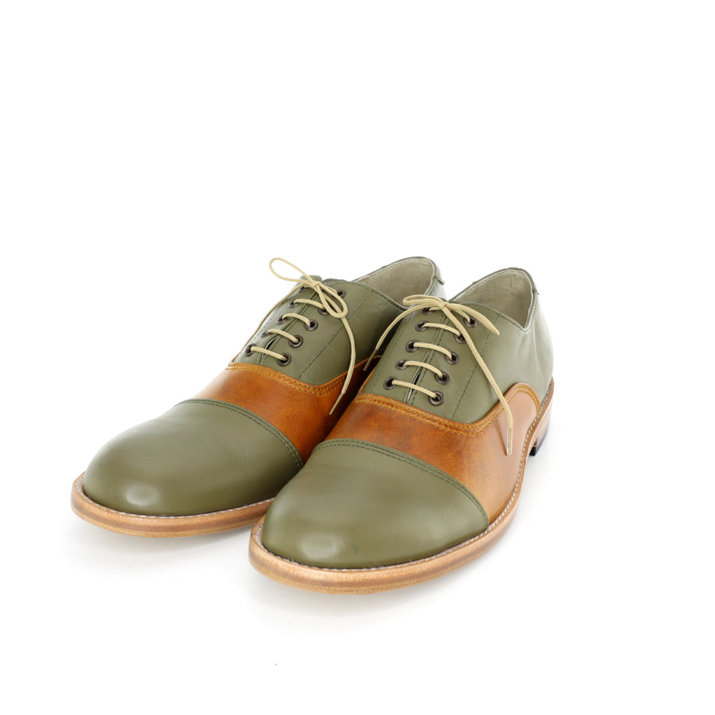 1920's Derby cap toe Shoes - Green & Tanned