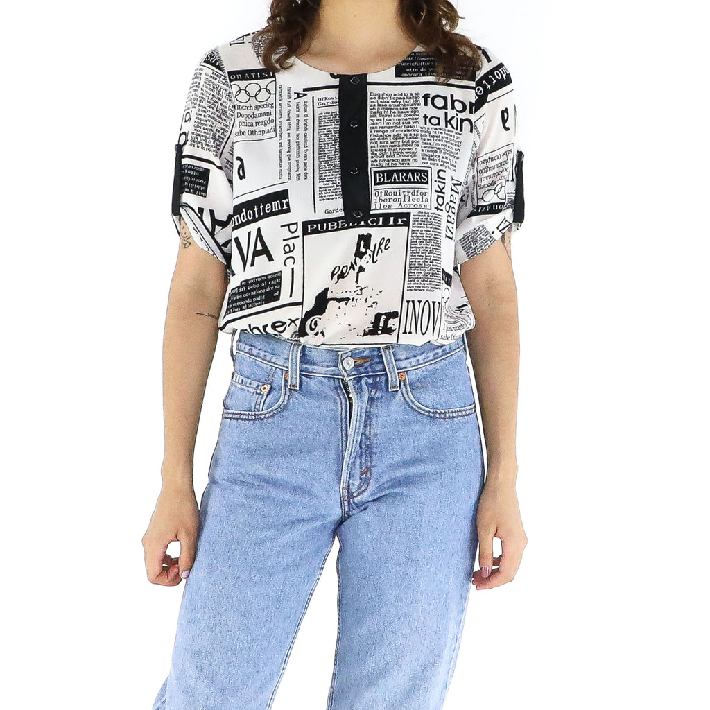 Newspaper Print Blouse