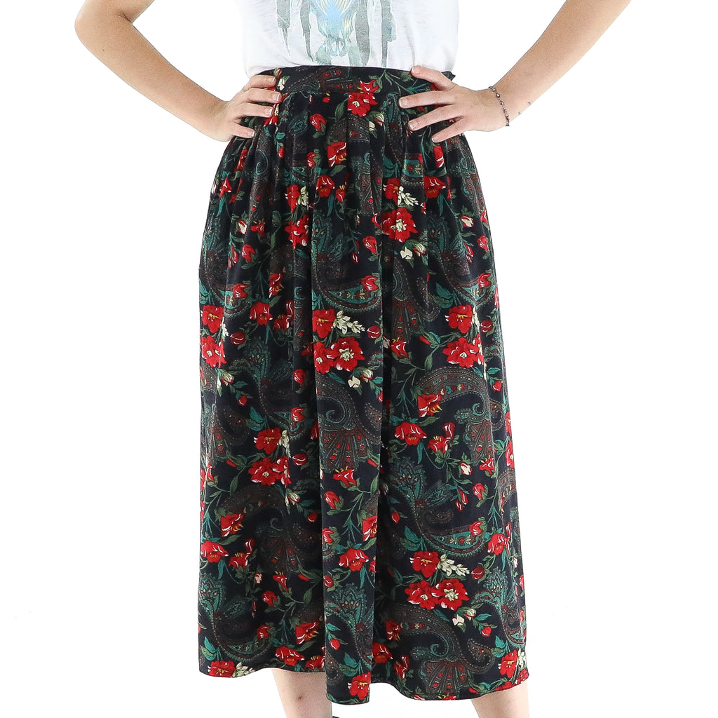 Vintage Jacobean Pattern Silk Skirt