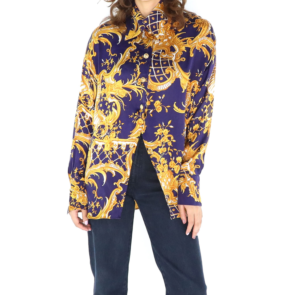 Vintage Blue & Gold Silk 80's Long Sleeve Blouse