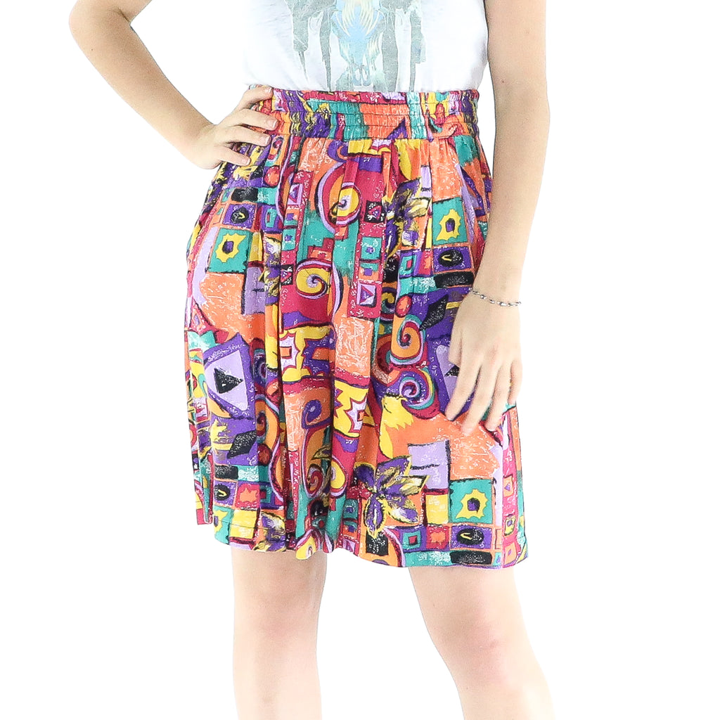 Multicolor Rayon Abstrac Pattern Short