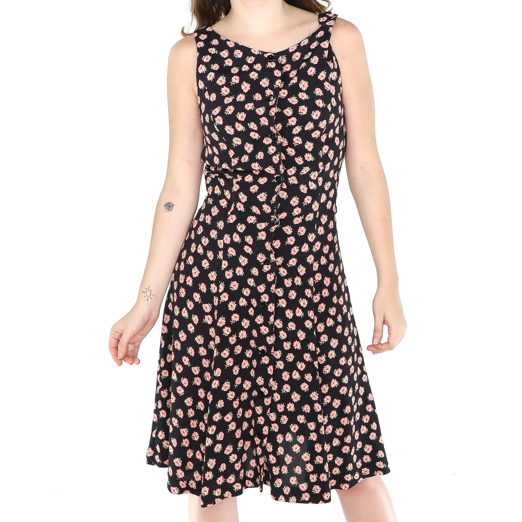 Black & Pink Flowers Rayon 60's A-line Dress
