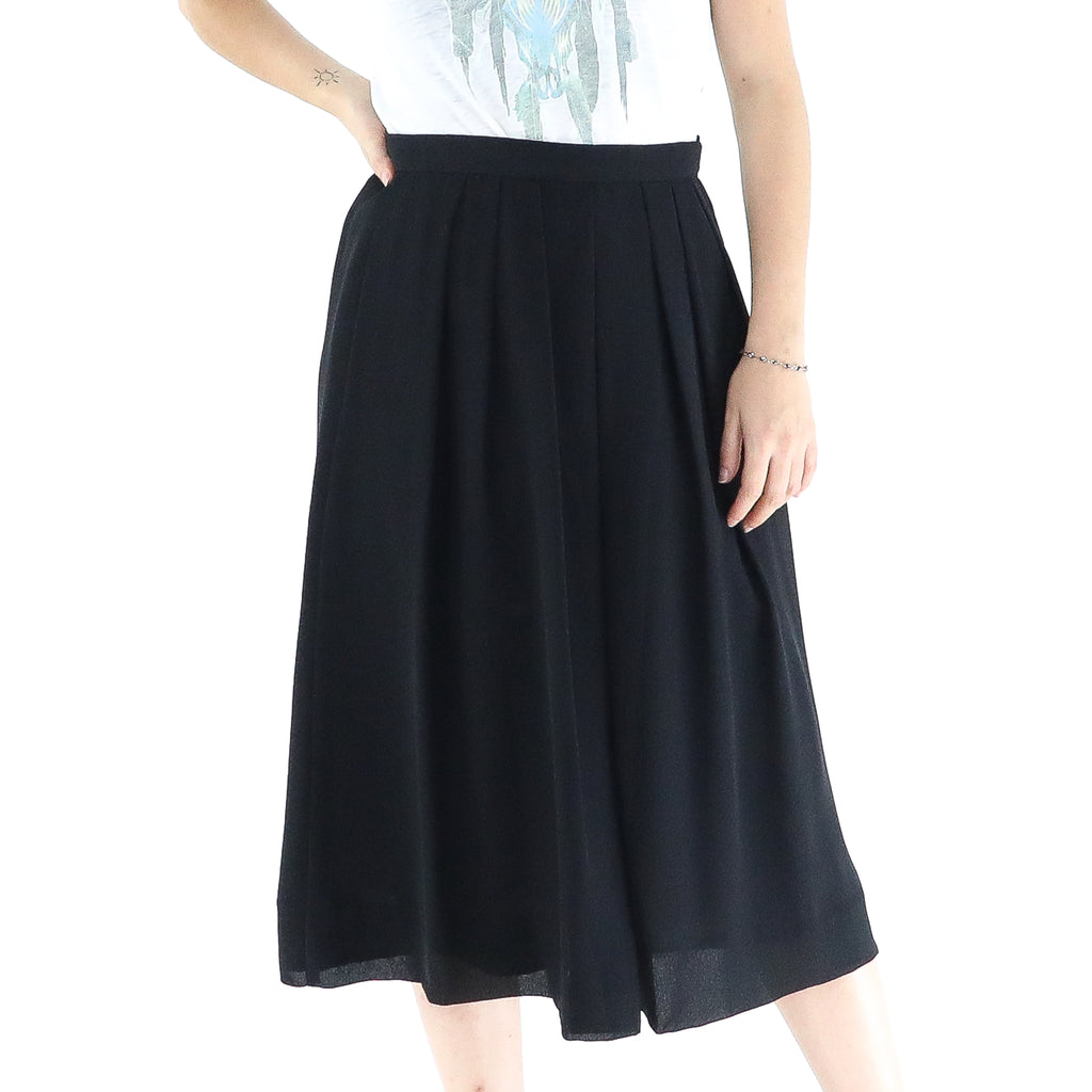 Black 60's Flared Midi Skirt