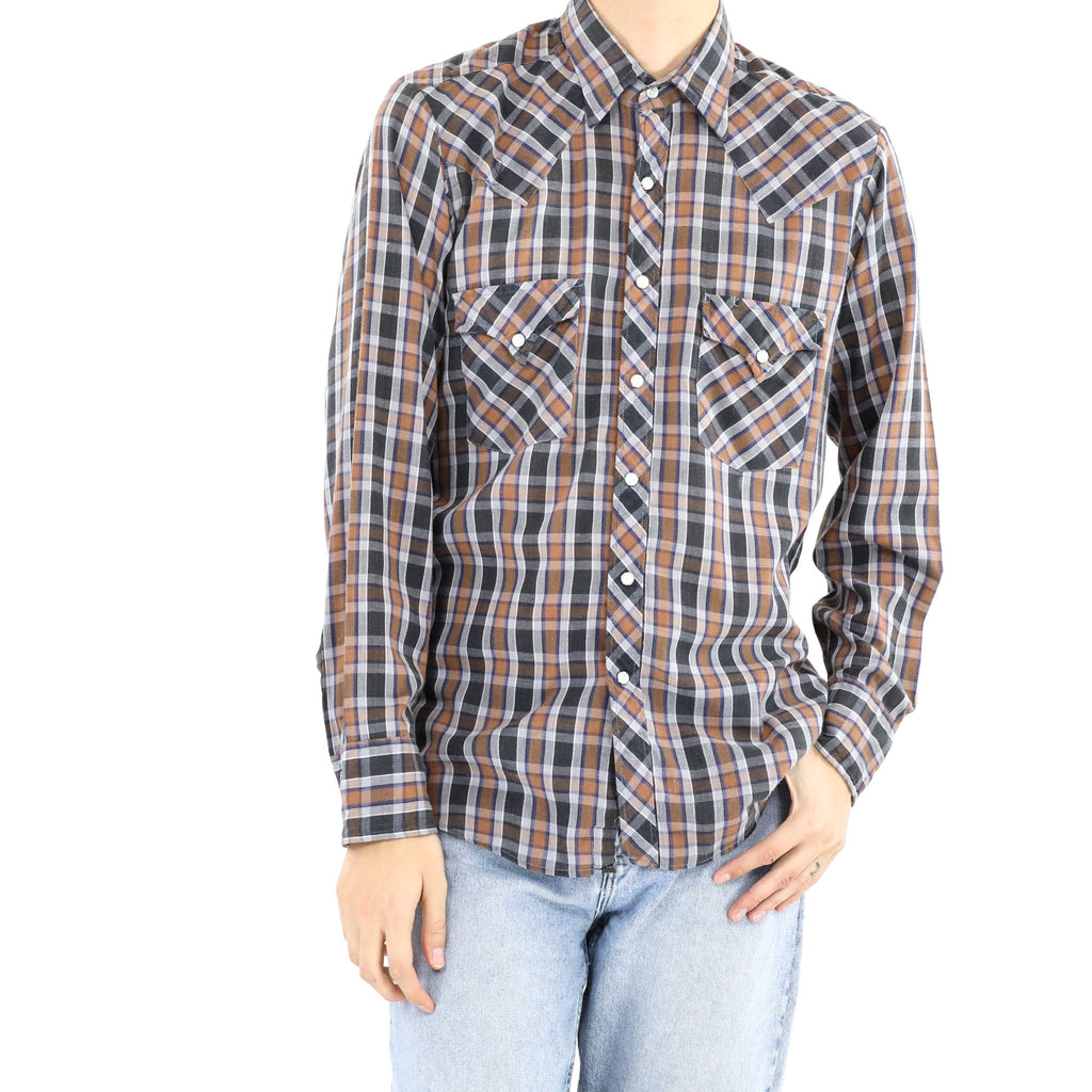 Light Brown and Blue Check Shirt