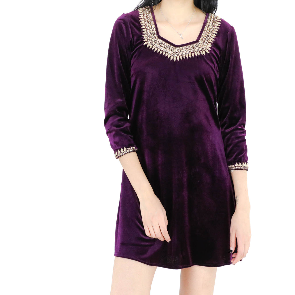 Dark Purple Velvet Dress