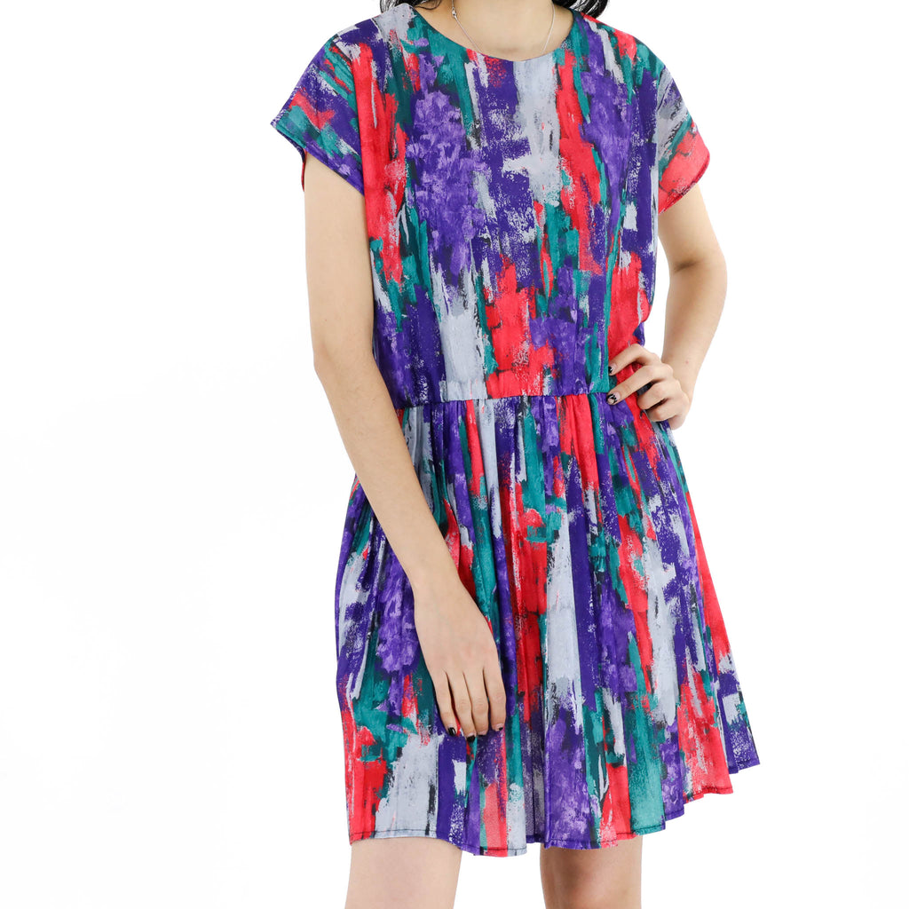 Purple, Green & Red Paint Dress