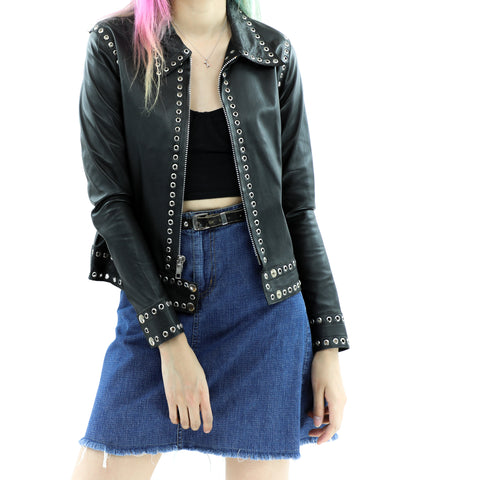 Women's Eyelets Leather Jacket