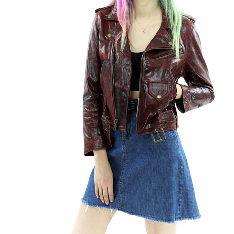 Women's Cracked Red Leather Jacket
