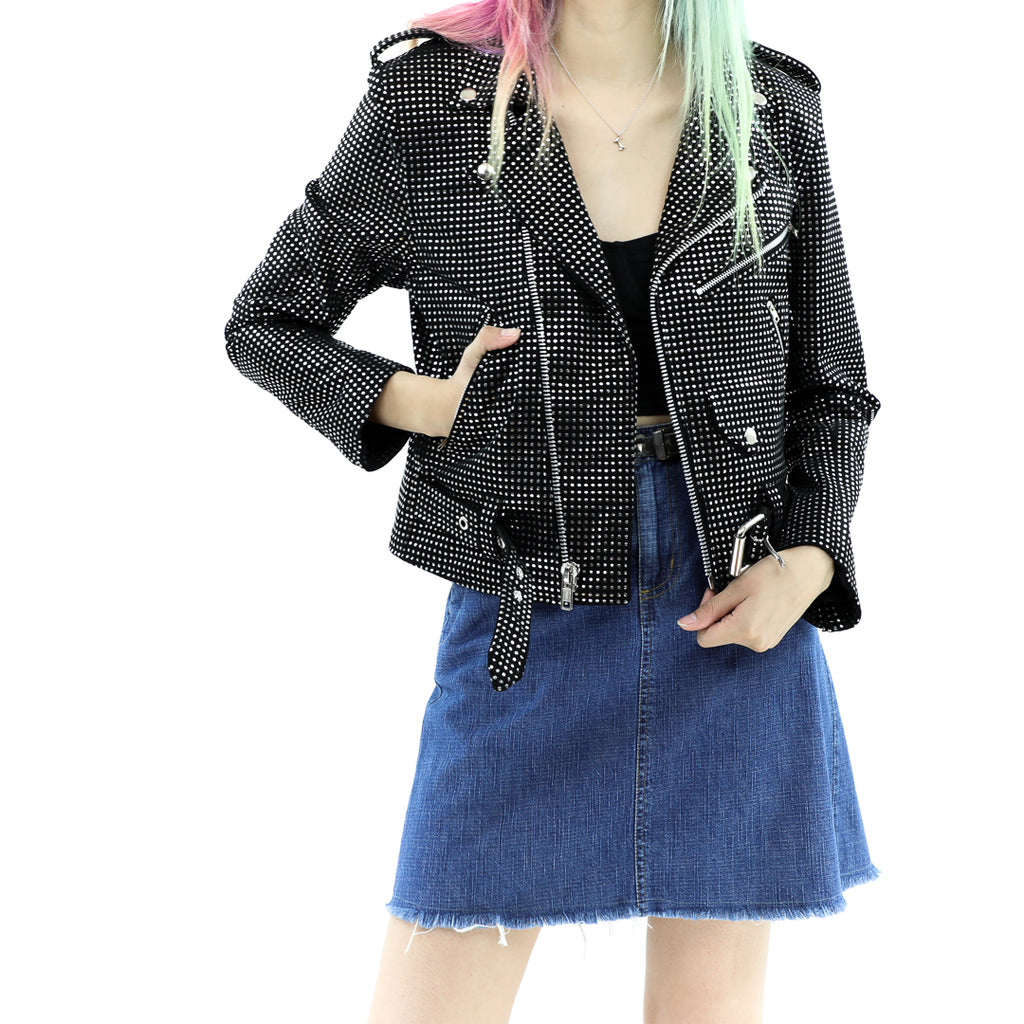 Women's Black and Silver Dots Biker Jacket
