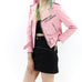 Women's Pink Leather Biker Jacket