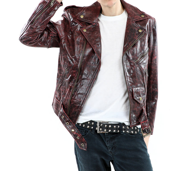 Men's Cracked Red Leather Jacket