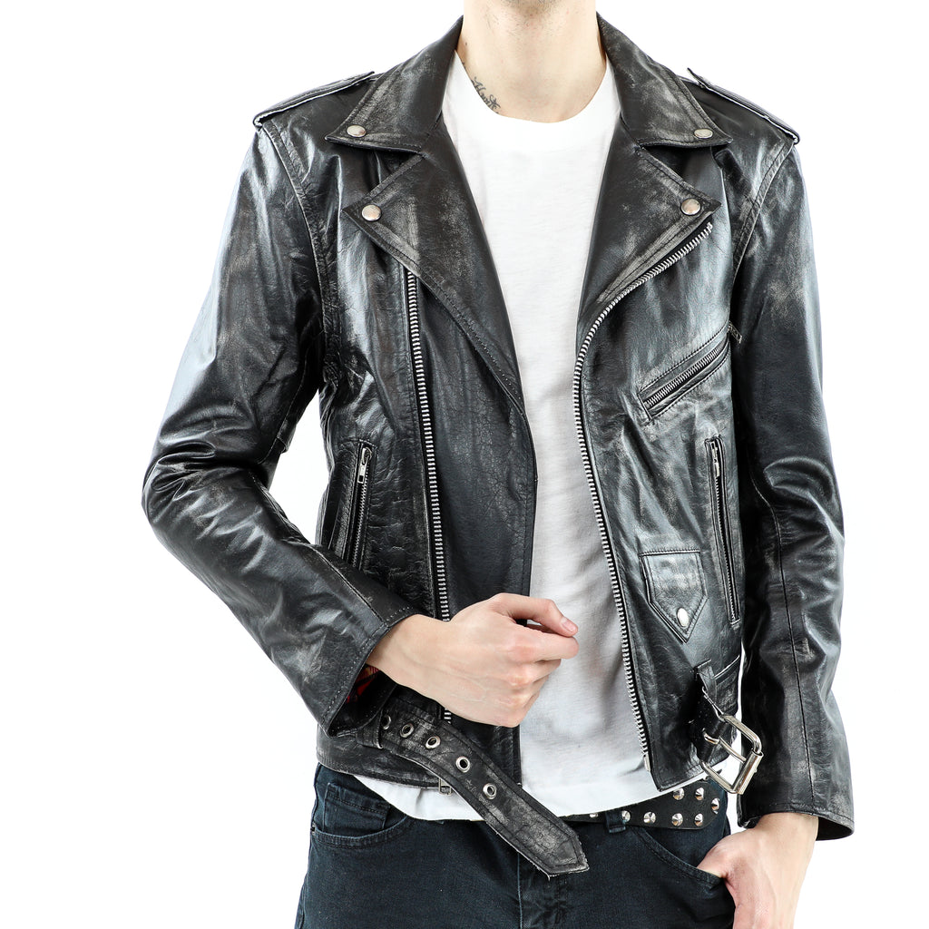 Men's Black Distressed Leather Biker Jacket