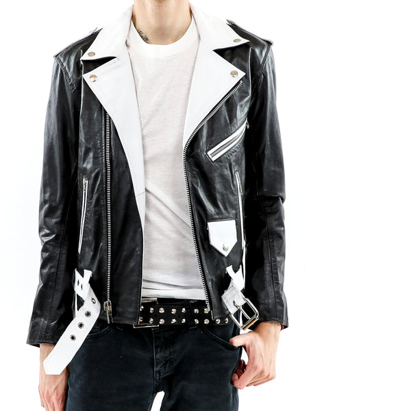Men's Black And White Biker Leather Jacket