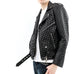Black and Silver Vegan Leather Biker Jacket