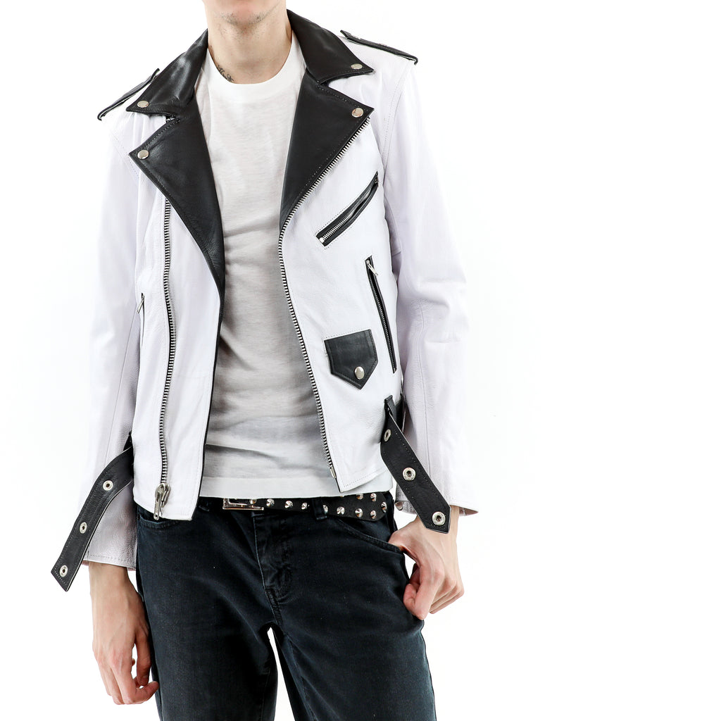 Men's White & Black Biker Leather Jacket
