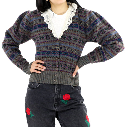 Lace Trimmed Fair Isle Puff Sleeve Cardigan