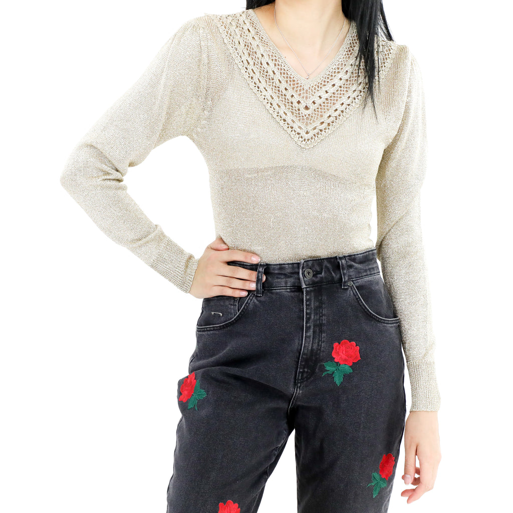 Glitter Pointelle V-Neck Sweater