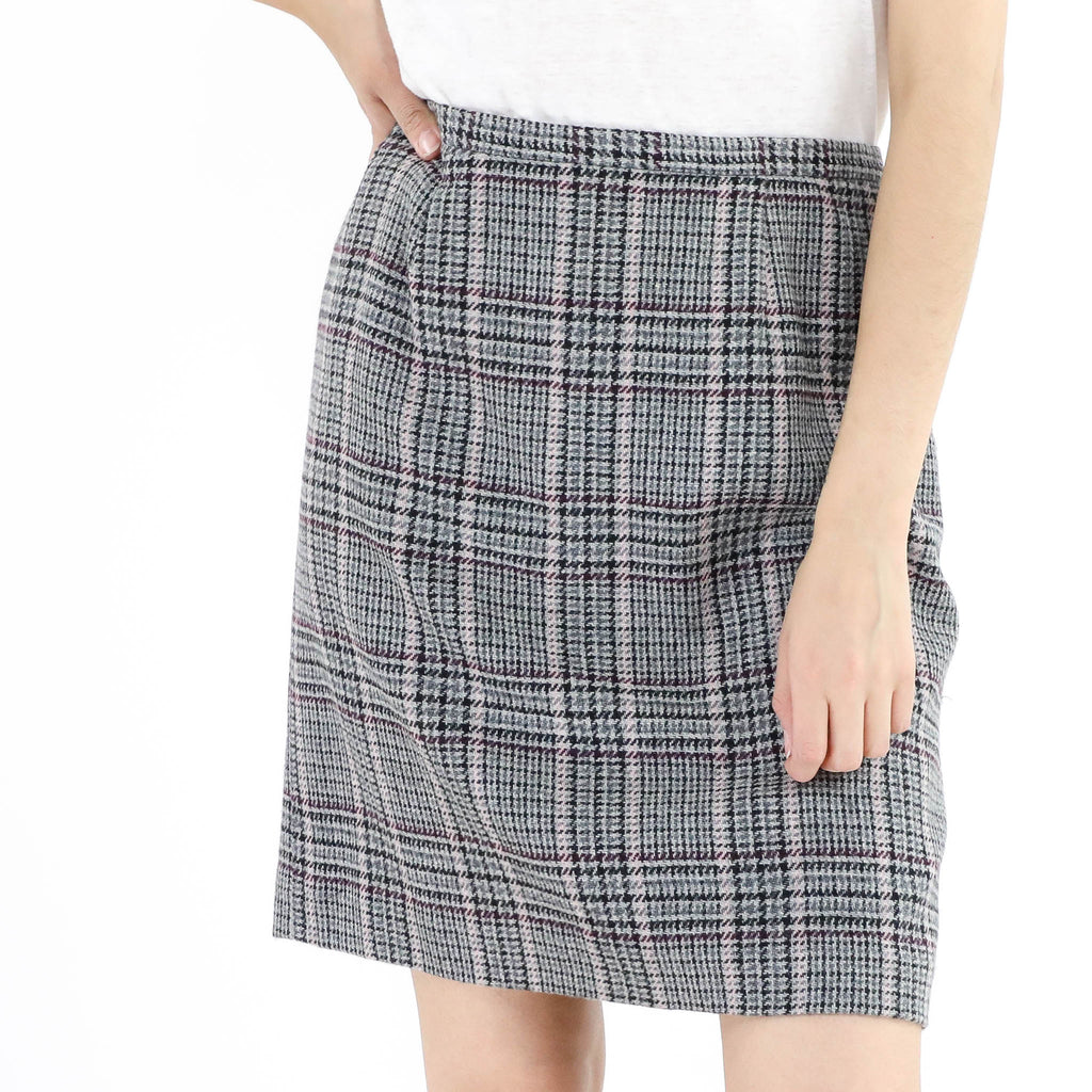 Plaid Straight Skirt