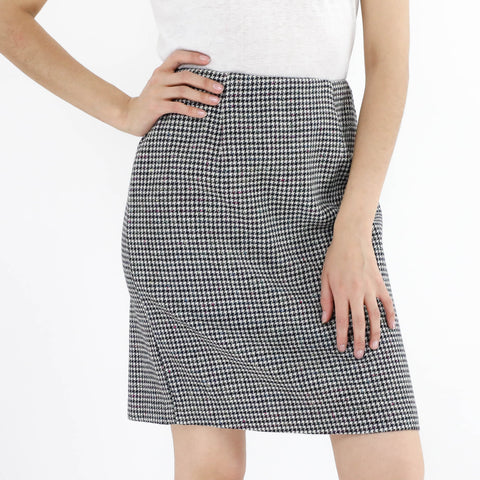Houndstooth Kick Pleat Skirt
