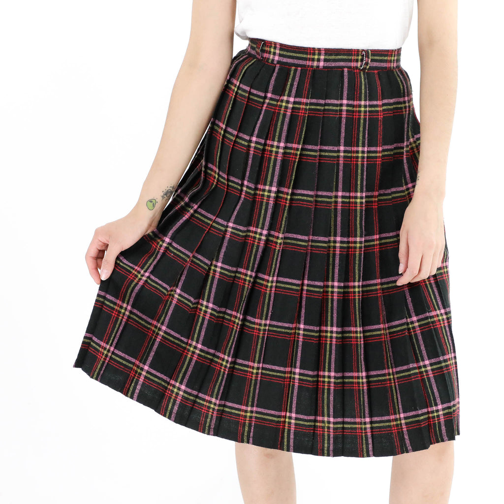 Knife Pleat Window Pane Plaid Skirt
