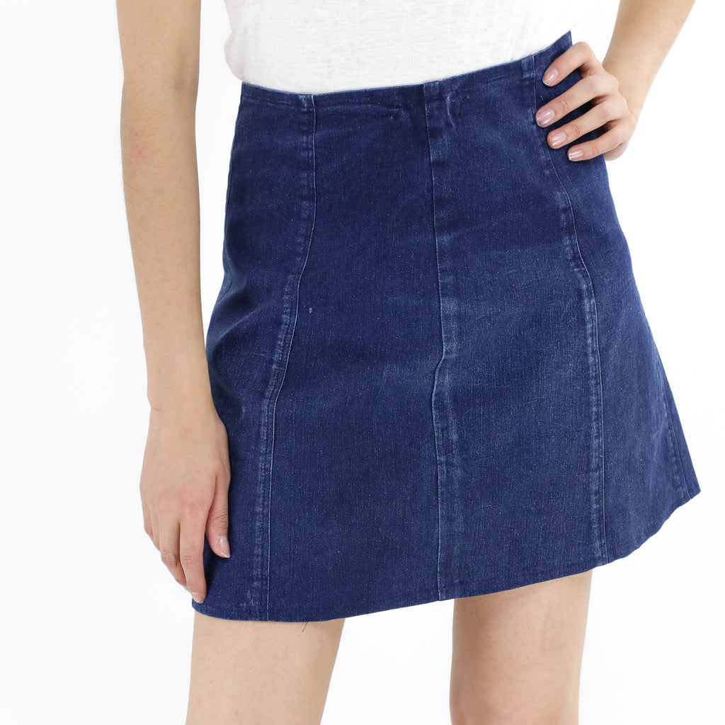 Denim Gored Mini Skirt