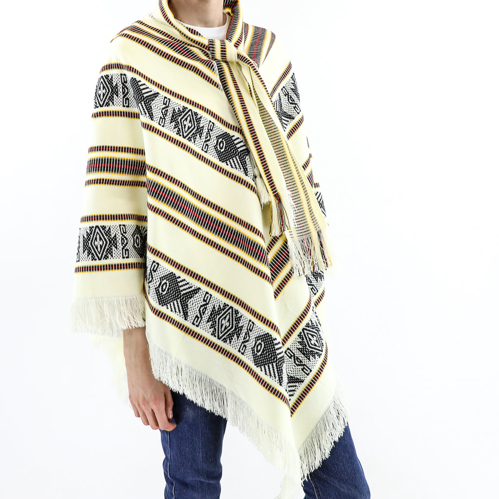 Beige Fish Pattern Poncho