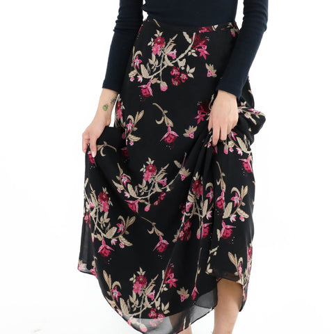 Bias Cut Floral Print Skirt