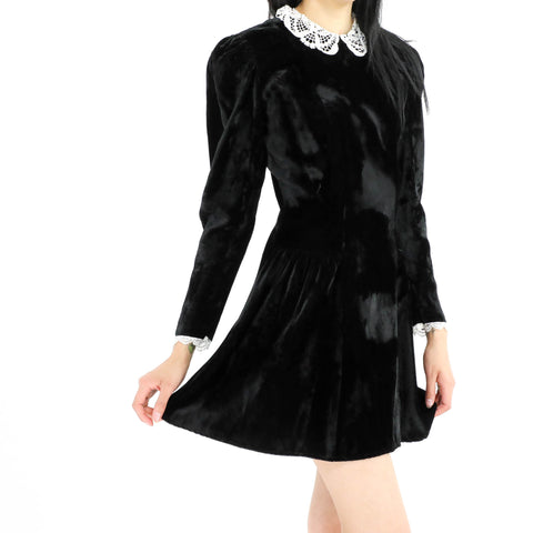 Puff Sleeved Skater Velvet Dress