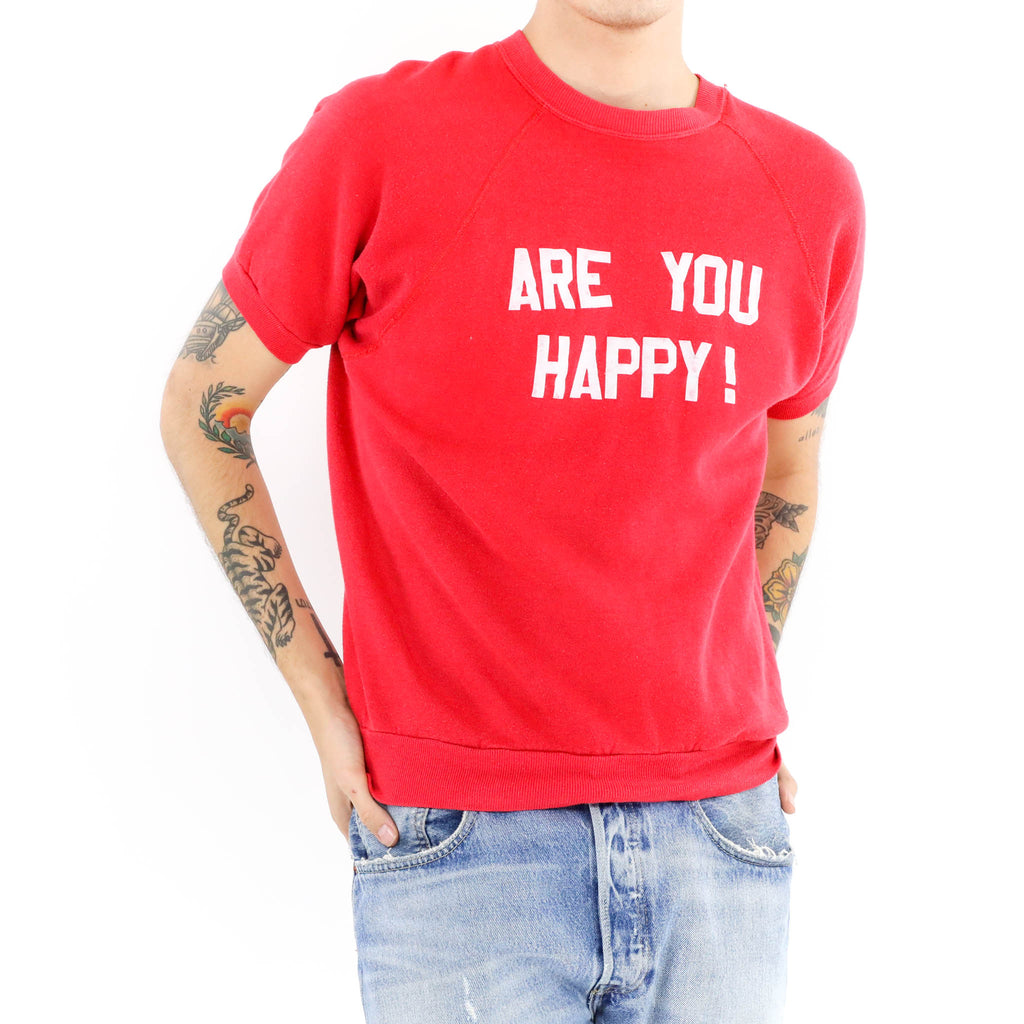 Are You Happy! Flocked Tshirt