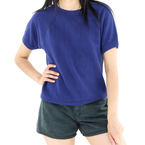 Dark Blue Short Sleeve Sweatshirt