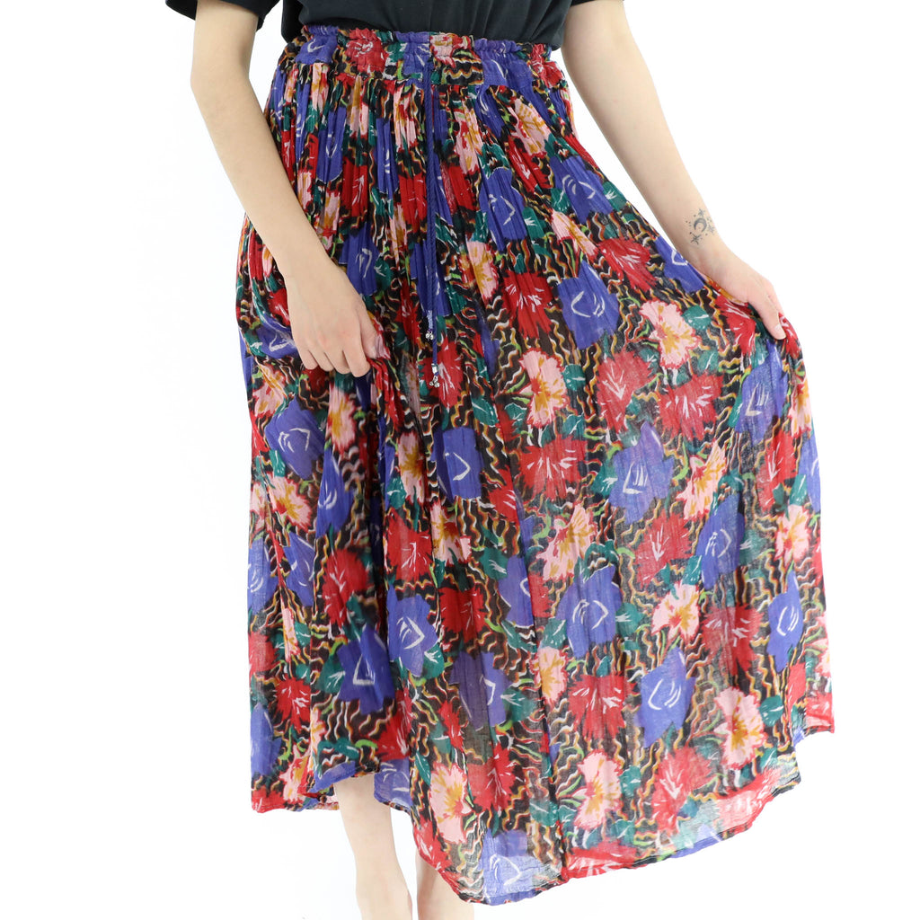 Red & Blue Flowers Maxi Skirt