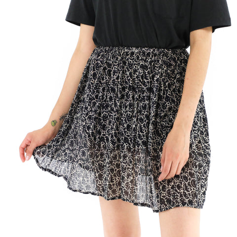 Black Abstract Print Skirt