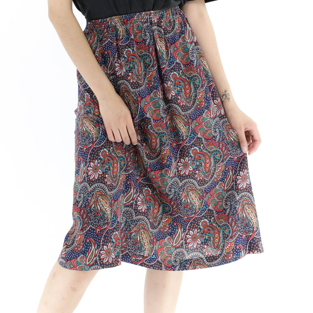 Red & Blue Abstract Print Skirt