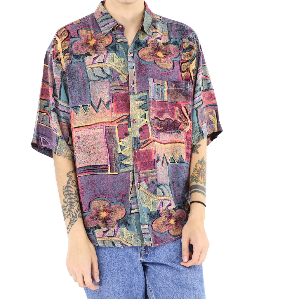 Abstract Multicolored Print Shirt