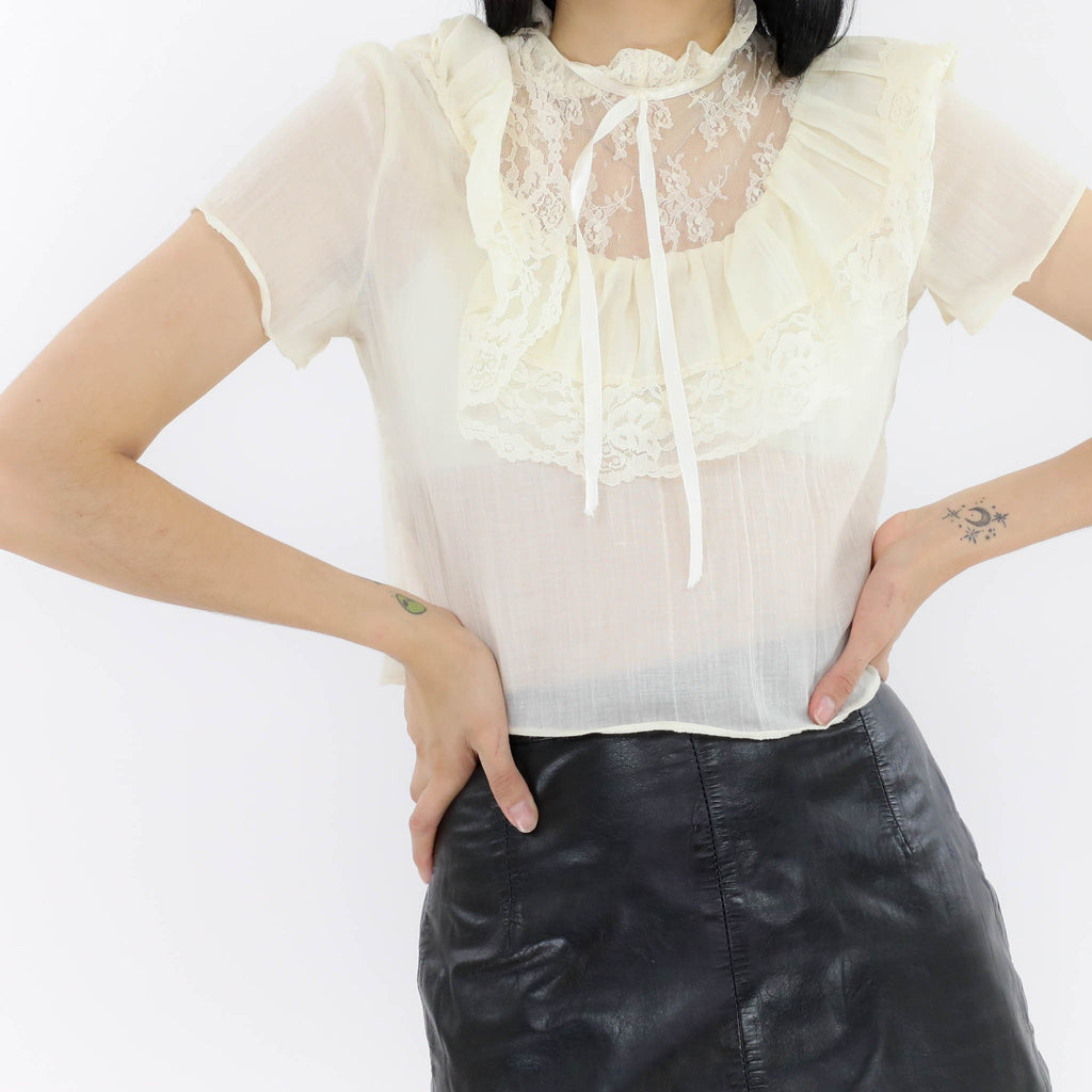 Lace Collared Ivory Blouse
