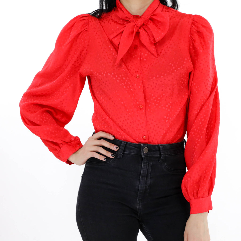 Red Pussy Bow Blouse
