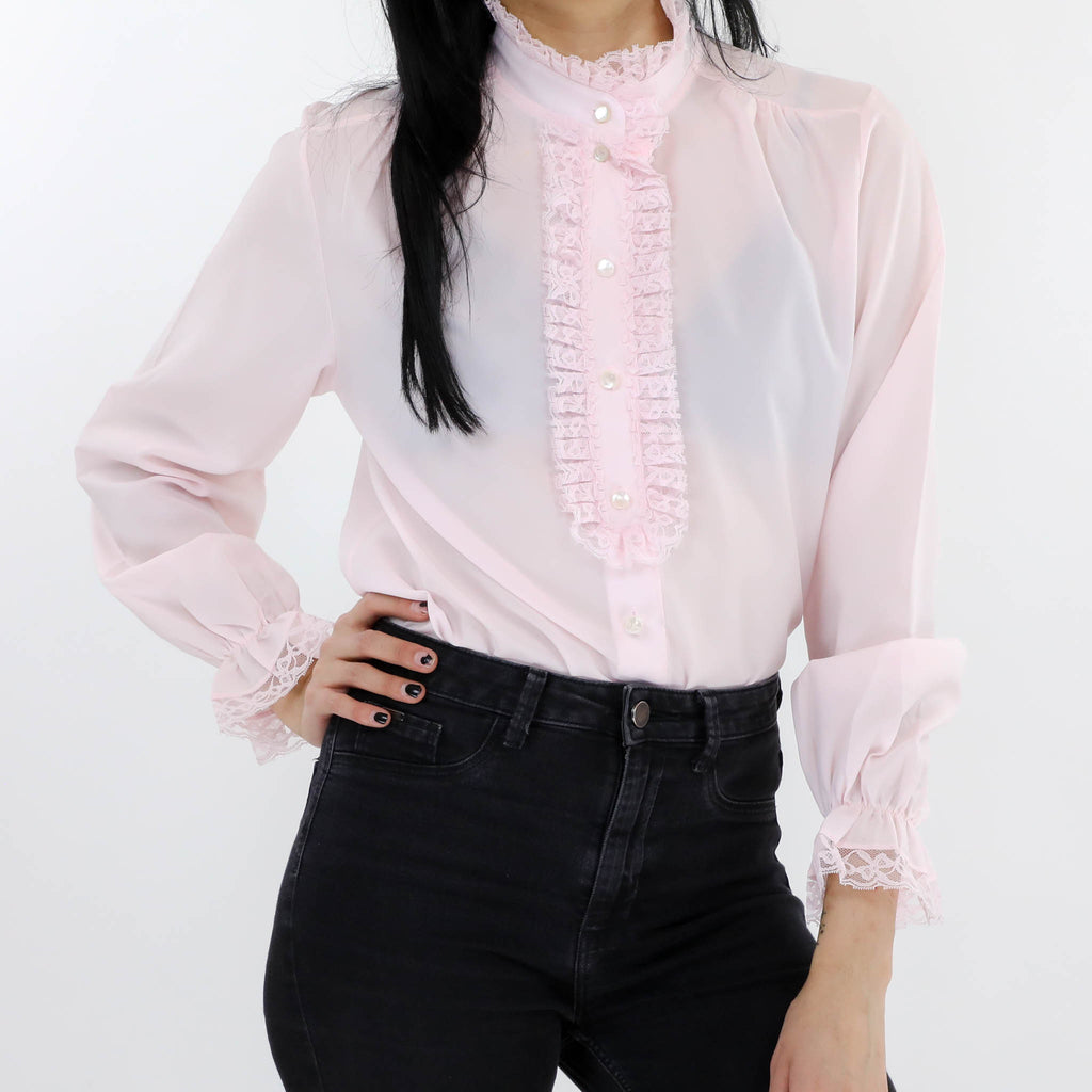 Sheer Ruffle Front Blouse