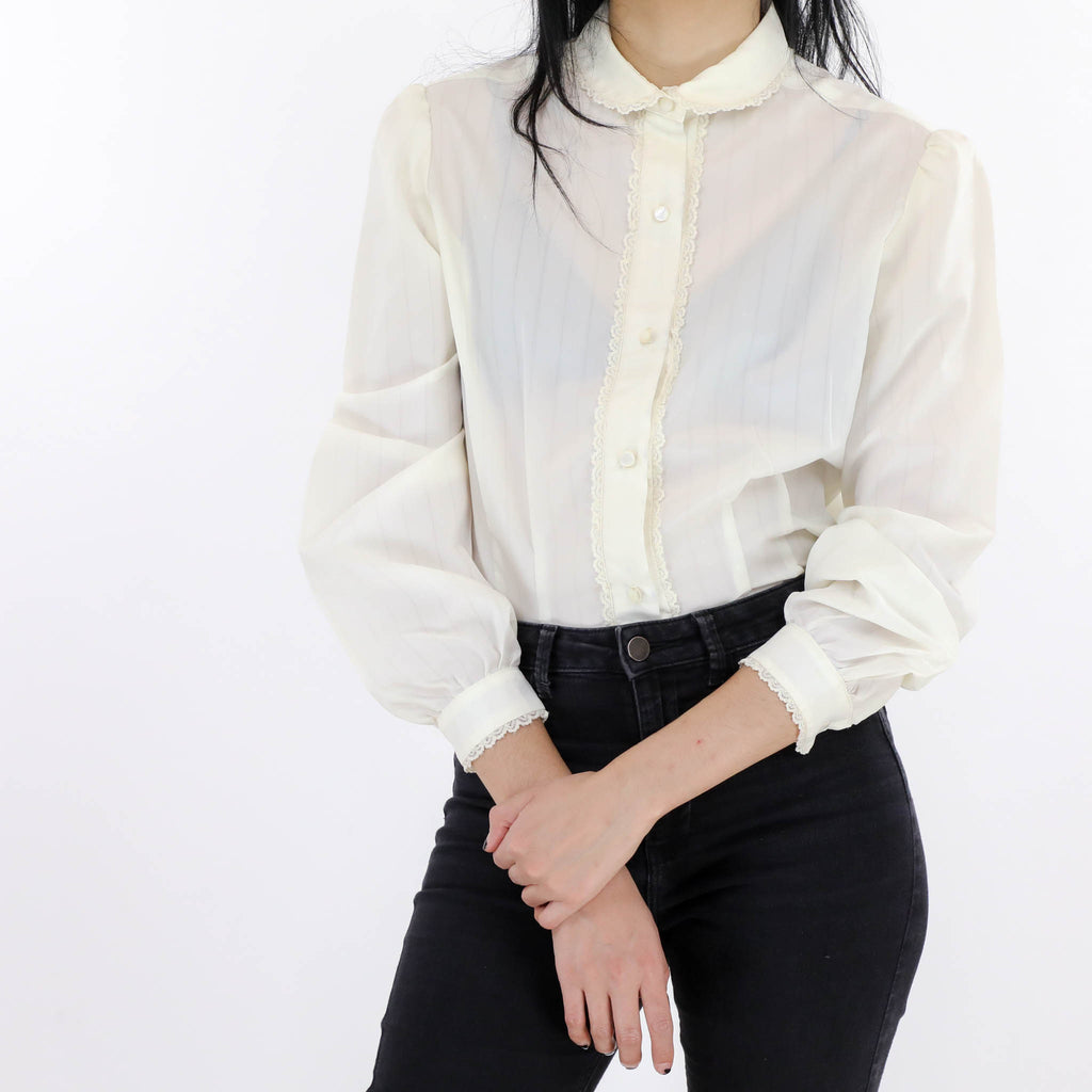 Sheer Lace Trimmed Blouse