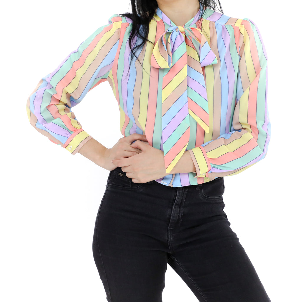 Pastel Striped Pussy Bow Blouse
