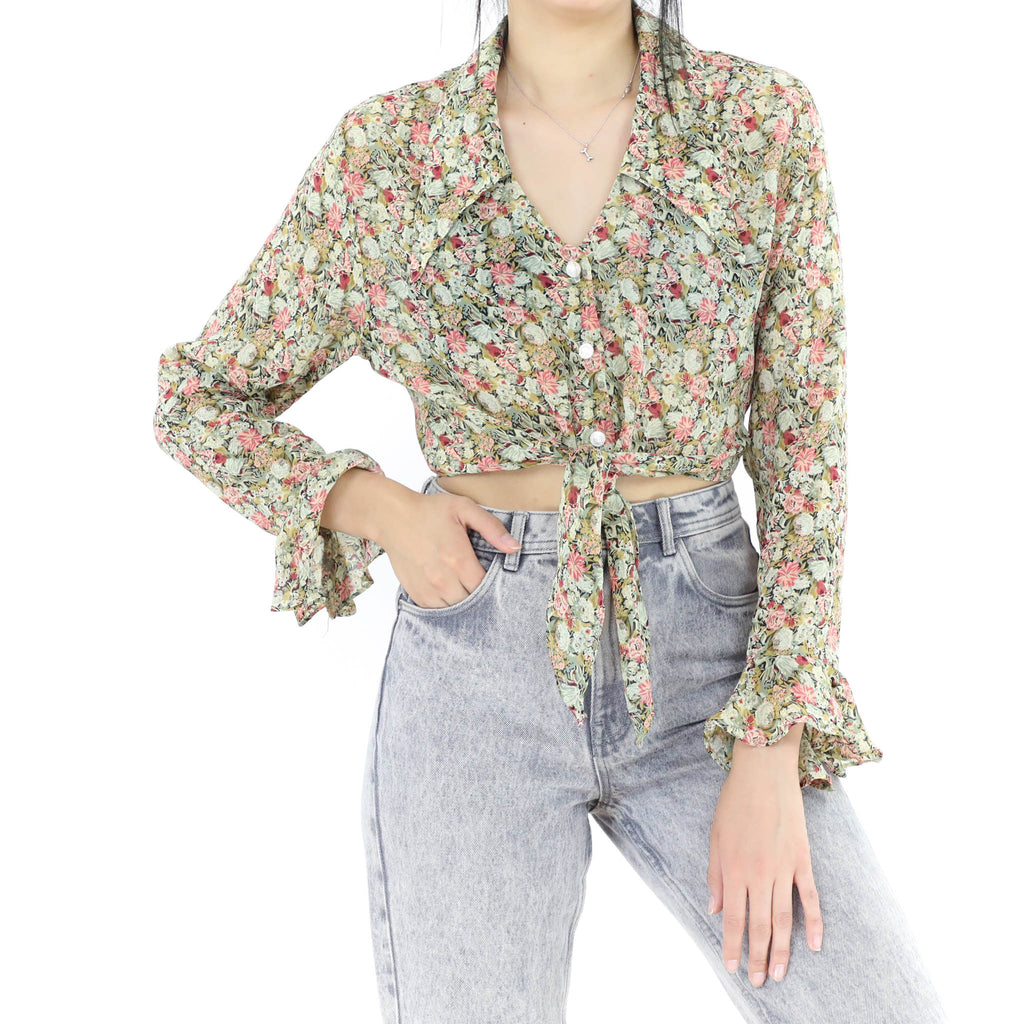 Green & Pink Floral Blouse