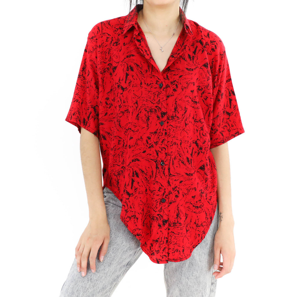 Red Abstract Blouse