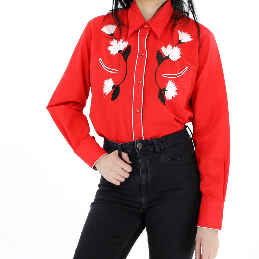 Rose Embroidered Western Shirt