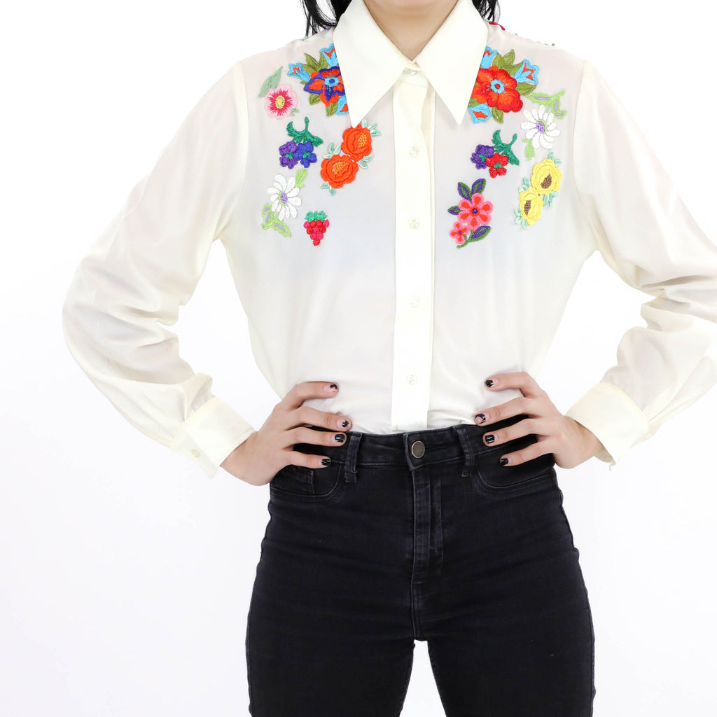 Sheer Floral Embroidery Shirt