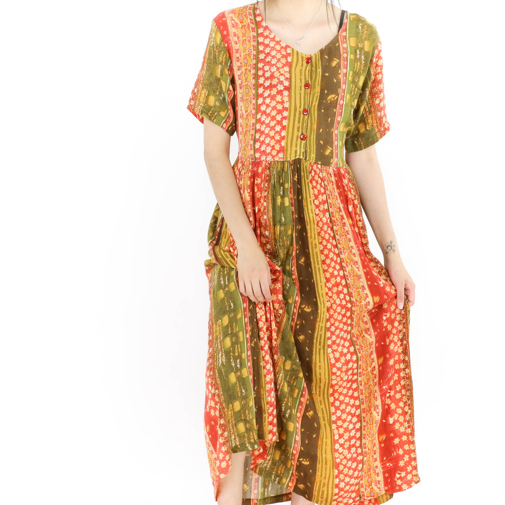 Orange & Green Maxi Dress