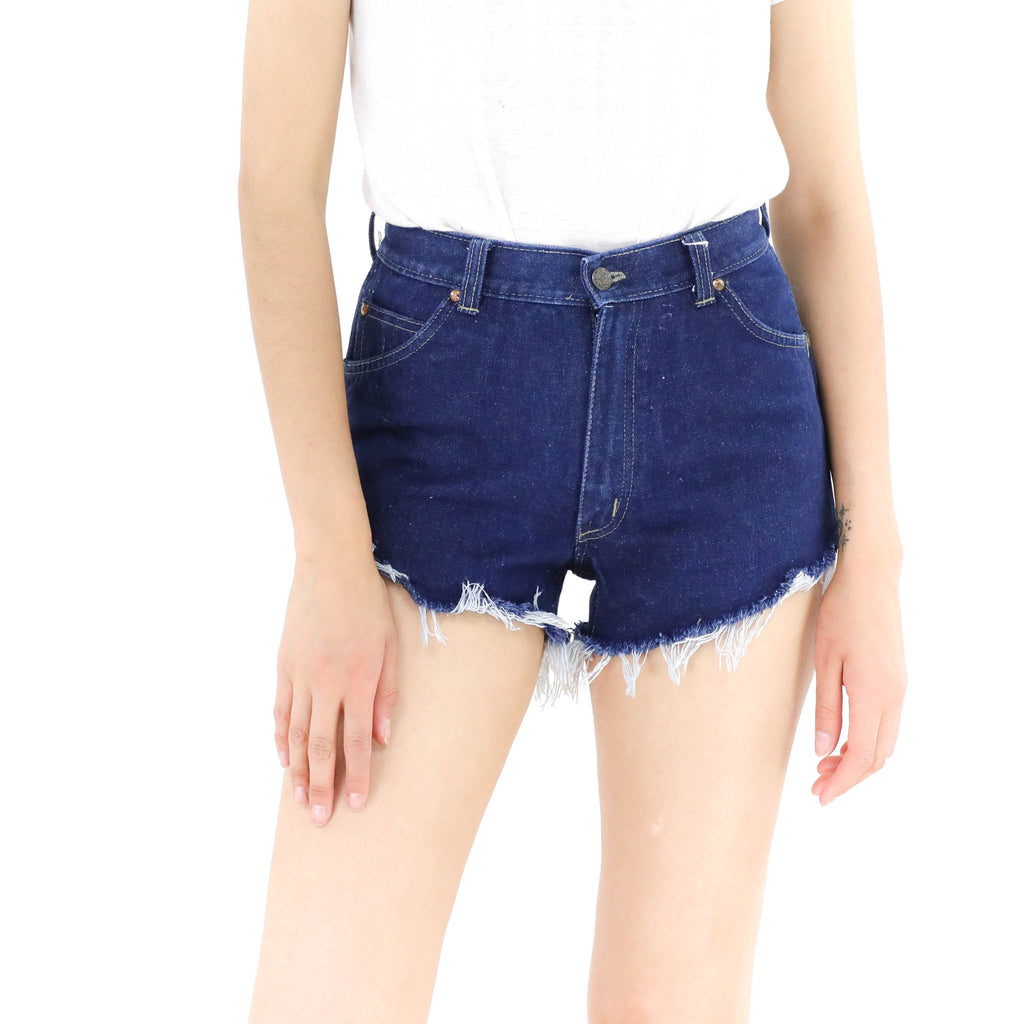 Dark Denim Cheeky Cut Off Shorts