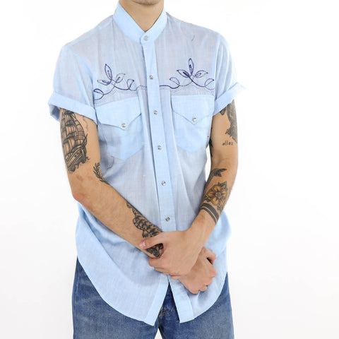 Embroidered Grandad Collar Shirt