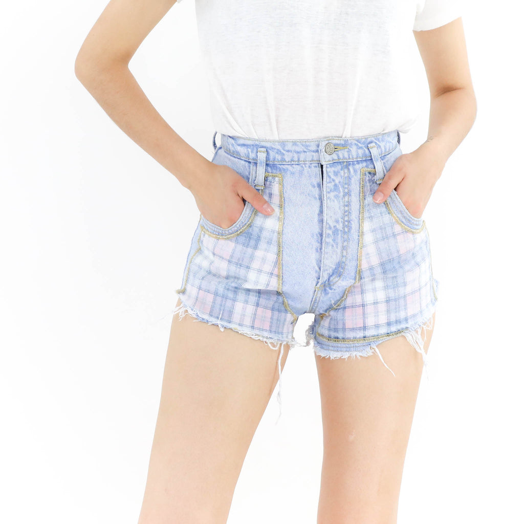 Plaid Detailed Cheeky Cutoff Shorts