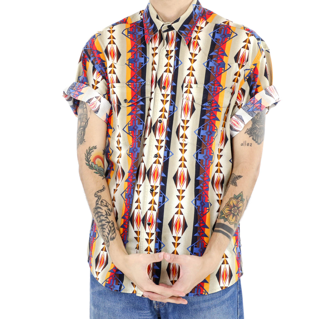 Linear Navajo Print Button Down Short Sleeve Shirt