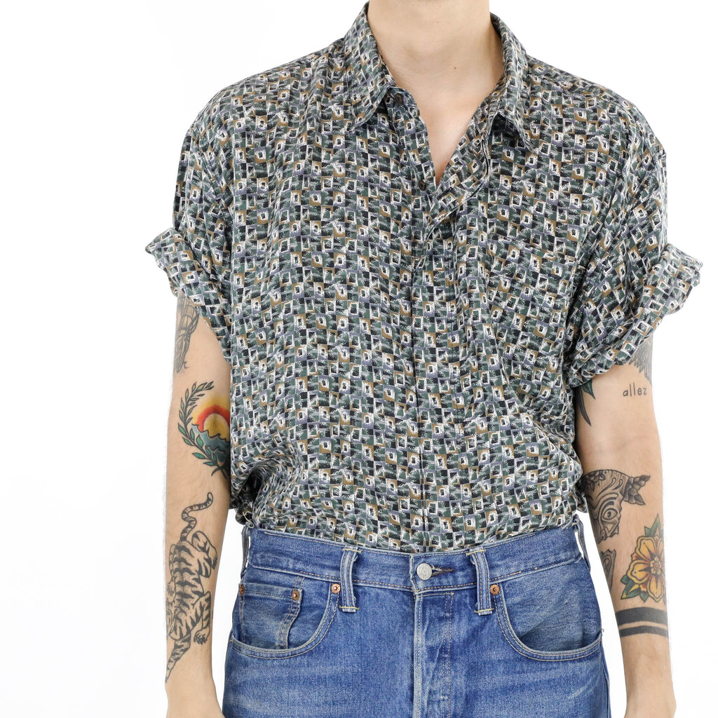 Ditsy Print Short Sleeve Shirt