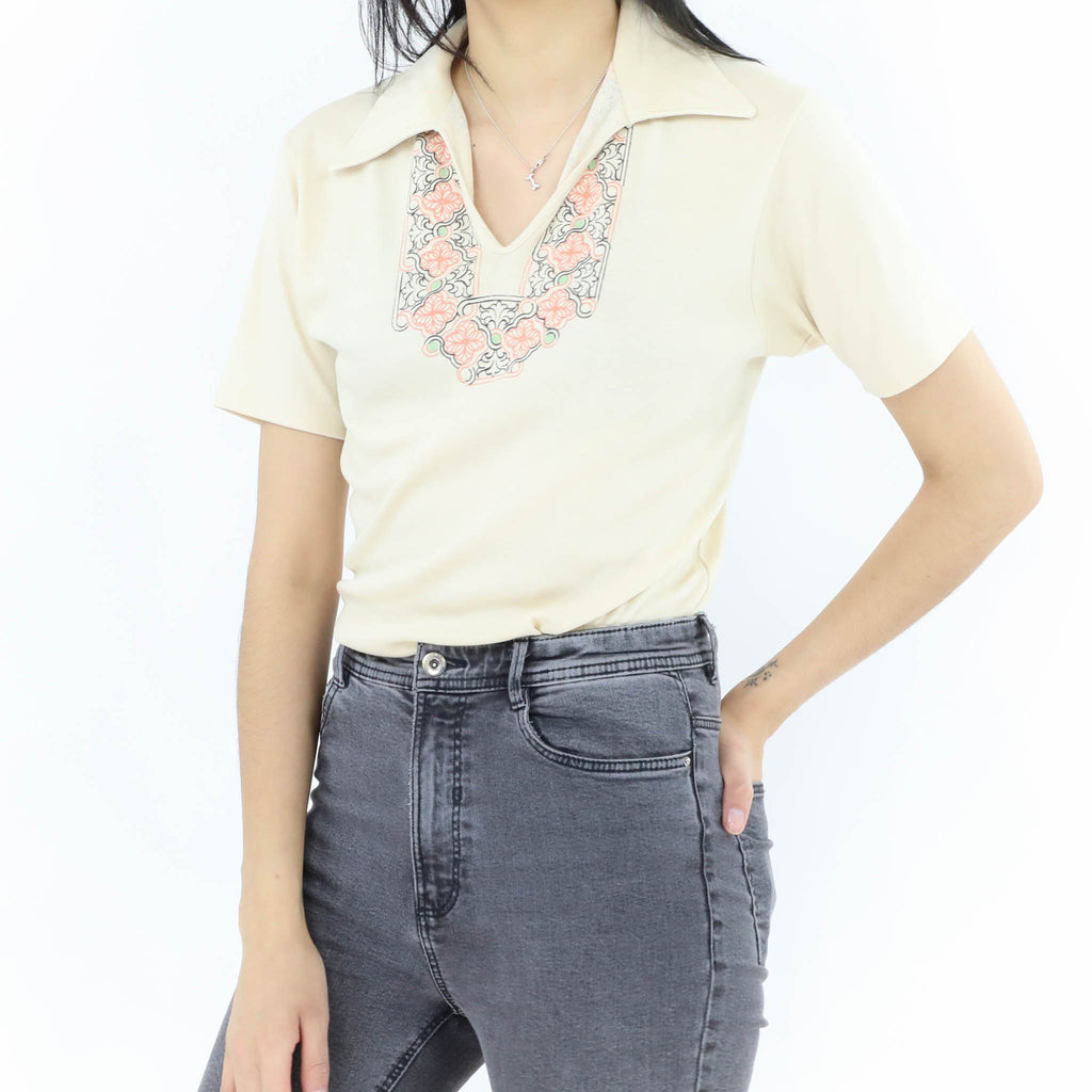 Cream Vintage Tshirt with patterns